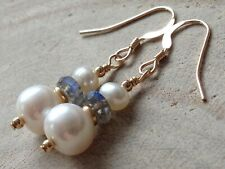 White Freshwater Pearls & Labradorite Gemstones 14ct Rolled Gold Earrings