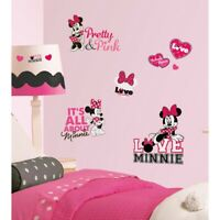 New Disney MINNIE MOUSE LOVES PINK WALL DECALS Girls Bedroom Wall Decor Stickers