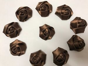 "New 10 Brown Handmade 4d Satin Rose Flowers 2"",  Bouquet,Corsage,Wedding,Crafts."