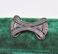 Vintage Sterling silver brooch pin with Martensite stones Art Deco design #O15