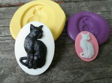 Gothic KITTY CAT MOLD  Set Cameo  Silicone  mold polymer clay resin wax sugar