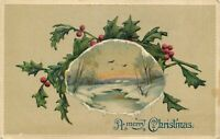 DB Christmas Postcard L386 Embossed Snow Scene Vignette with Holly Germany