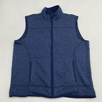 Club Room Zip Up Sweater Vest Men's 2XL XXL Sleeveless Blue Mock Neck Polyester