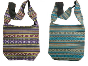 AZTEC STYLE FABRIC SHOULDER BEACH FESTIVAL SHOPPING BAG STRAP FASTENING POCKET