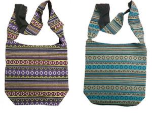 AZTEC STYLE FABRIC SHOULDER BEACH FESTIVAL SHOPPING BAG STRAP POCKET UK SELLER