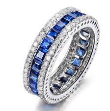 3.5Ct Princess Blue Diamond Vintage Antique Band Engagement Ring 14k White Gold