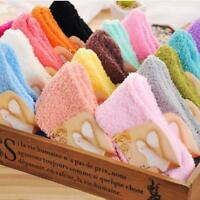 Home Soft Bed Floor Socks Fluffy Thick Warm Winter Sock Women Girls Colorful Tip