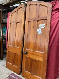RECLAIMED ANTIQUE PITCH PINE Pair of ARCHED DOORS & Door Frame (Gothic, Chapel)