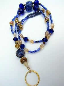 ID Holder Lanyard Eyeglass Chain Blue Lampwork with gold tone accents Handmade