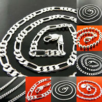 Necklaces Chain 925 Sterling Silver S/F Solid Curb Box Figaro Bead Link Designs