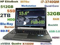 # (3D-Design FHD) HP 8570w i7-Quad BD-RE (512GB SSD + 2TB) 32GB 15.6 FHD nVIDIA