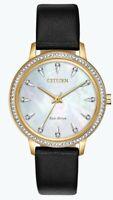Citizen Eco-Drive Women's Silhouette Black Leather Strap 36mm Watch FE7042-07D