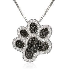 Fashion Black Crystal Animal Dog Paw Footprint Pendant Necklace Women Jewellery