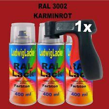 Karminrot  RAL 3002 glänzend  400ml 3 Spray Farbenspray Sprühdose & Griff