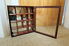 Wall mounted small wood and glass display cabinet 13 x 11 x 2½ inches