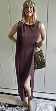Abendkleid sexy Gr. 42 Gr.44 braun maroon rehbraun Perlen Schal wie neu zeitlos