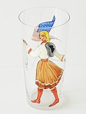 VERRE CRISTAL 1950 VINTAGE DECOR MAIN USA COWGIRL ROCKABILLY HAND PAINTED GLASS