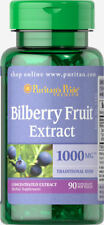 90 Softgels Puritan's Pride Bilberry Fruit Extract 1000mg *Support Eye Health