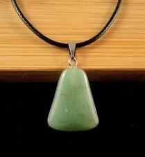 Natural Green Aventurine Gemstone Fashion Pendant on a Black Cord Necklace #1227