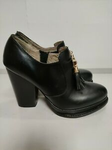SEYCHELLES platforms shoes with tassels UK6 Eu39, Black, block heel 11cm vgc