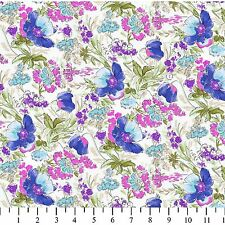 Rose and Hubble Evelyn's Tulips Ivy/Purple 100% Cotton Fabric by the Yard