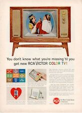 """1961 RCA Victor Color TV Television """"The Swarthmore"""" PRINT AD"""