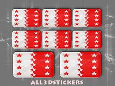 8 x Pegatinas 3D Relieve Bandera Valais - Todas las Banderas del MUNDO