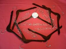 9 Personalized Wedding Hangers (White Color - Aluminum Wire Silver)