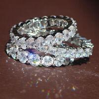 3pcs Hot White Sapphire Birthstone 925 Silver Filled Wedding Bridal  Ring Set