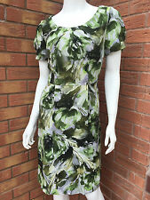 LINEA  (HOUSE OF FRASER) 100% SILK GREEN, CREAM & GREY PRINT SHIFT DRESS SIZE 8