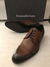 New $695 Ermenegildo Zegna Leather Shoes Brown Derby Captoe 11 US ( 44 Eu )Italy