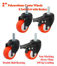 """2"""" PU Bolt Castor Wheels,4 Swivel Casters (2 with brake),Trolley Bench Furniture"""
