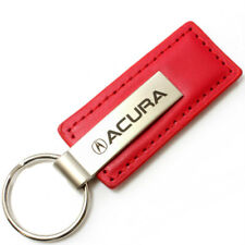 Genuine Red Leather Rectangular Silver Acura Logo Key Chain Fob Ring