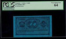 PARAGUAY  50 CENTIMOS  LEZICA Y LANUS 1870  PICK # S181 PCGS UNC 64.