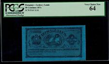 PARAGUAY  50 CENTIMOS  LEZICA Y LANUS 1870  PICK # S181 PCGS 64 VERY CHOICE NEW.