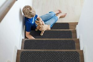 "Indoor Non Slip Carpet Stair Treads 8.5""x26"" Sets of 7 and 13 Waffle Pattern"