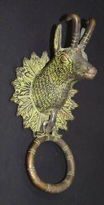 Brass Goat Door Bell Ring Leaf Design Neck Engraving Animal Face Door Dec EK122