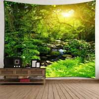 Nature Forest with Sunlight Tapestry Wall Hanging Tree Landscape Tapestry Decor
