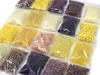 400g Rocailles Perlenset Gelb Topas 2/3/4/6 mm Rund-Stift Mix Glasperlen AM20