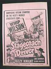 1951 Stagecoach Driver Old Movie Poster Broadside Whip Wilson Fuzzy Knight