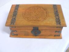 """Celtic Engraved Wood Chest - 10"""" by 6""""- Brass Trim"""