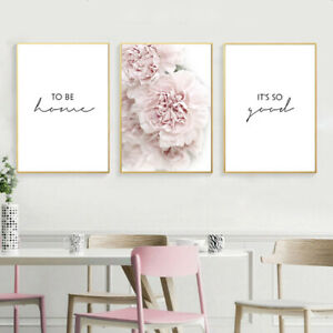 Pink Peony Flower Botanical Poster Nordic Wall Art Canvas Print Home Decoration