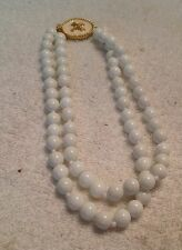 Gay Boyer White Double Strand Glass Beaded Necklace with Enamel Clasp
