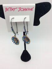 $42 Betsey Johnson  hematite tone flower drop earrings F206