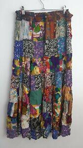 Vintage Boho Patchwork Multicoloured Maxi Skirt Size 12/14 Hippie Gypsy Peasant