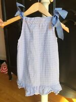 Boutique Just Ducky Blue/White Pillowcase Dress with Shoulder Ties Size 4 EUC