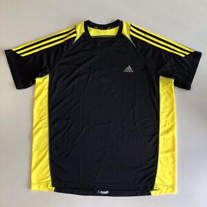 Adidas Men's ClimaCool Response 3 Yellow Stripes SS Shirt Blue  Sz 2XL