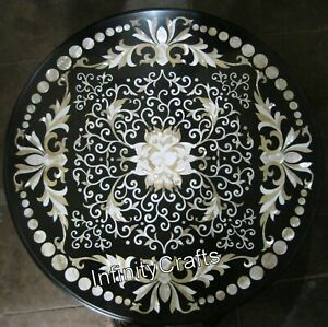 Handcrafted Marble Conference Table Top Pietra Dura Art Coffee Table 36 Inches