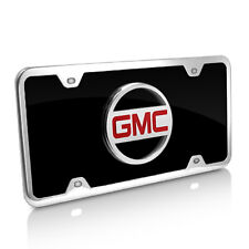 GMC Black Acrylic License Plate with Chrome Frame Kit