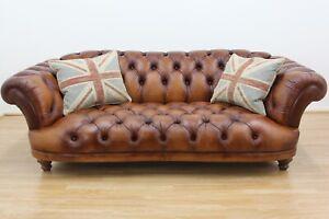 John Lewis Oskar Chesterfield 4 Seater Sofa in Buffalo Leather, Hand Antique